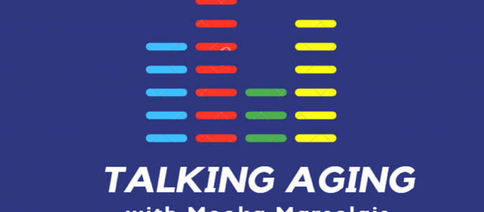 Talking Aging Logo with sound meter bars
