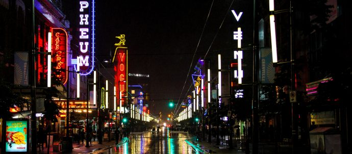 granville street in vancouver at night
