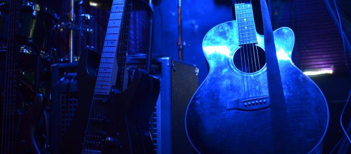 guitar with blue light
