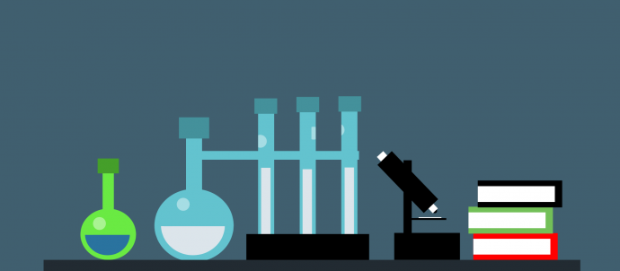 lab equipment, microscope and books