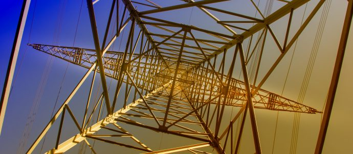 transmission tower from below
